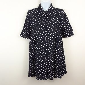 11.1.TYLHO M BLUE WHITE DOTTED SWING TUNIC TOP